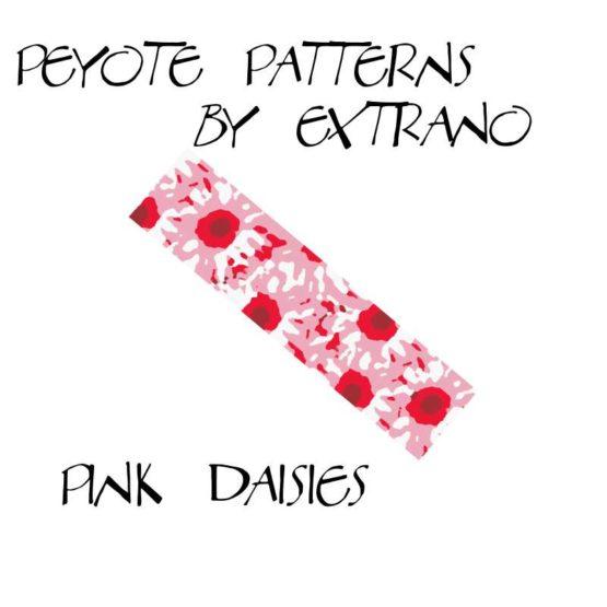 Wzór peyote - Bransoleta - Pink Daisies