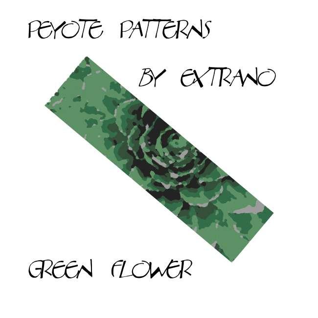 Wzór peyote - Bransoleta - Green Flower