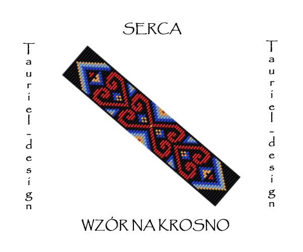 Wzór na krosno - Bransoletka - Serca